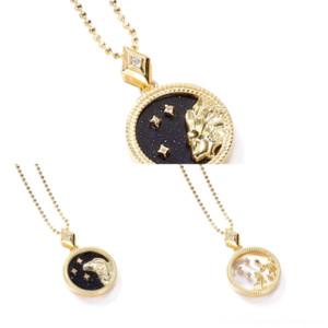 V4NJR Hot Pearl Chain Planet cadeau pour le strass Coquille Collier Douze constellations Satellite Pendentif Satellite Bijoux Femmes Collier Parti Black