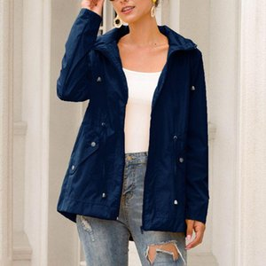 Femmes Plus Taille Automne Veste à capuche imperméable à capuche à manches longues à manches longues à la fermeture de la fermeture à glissière de pluie Casual Randonnée en plein air Bindbreaker S-3XL