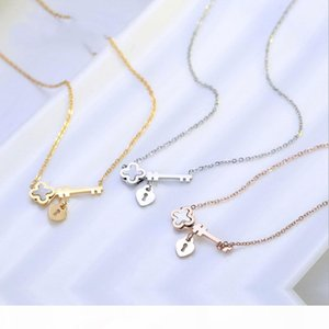 Titanium steel key clover necklace pearl shell rose gold pendant women's jewelry wholesale a generation of hair