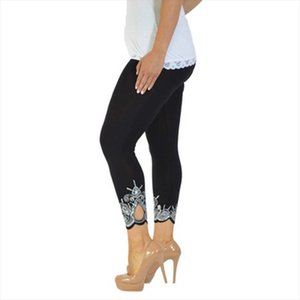 MIND FEET S 5XL Elegant Plus Size Women Casual Pants Slim Skinny Hollow Out Leggings Thin Print Trousers Lady Pencil Pants