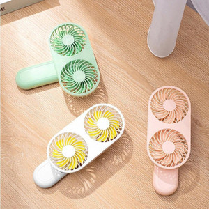 2020 New Dual Wind Handheld Mini Fan 90° Rotate USB Rechargeable Air Cooling Fan Portable for Home Office Outdoor #598i