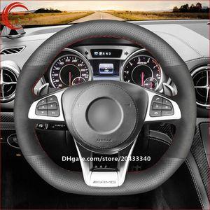 أسود جلد التفاف سيارة غطاء عجلة القيادة لبنز A45 AMG C43 C63 AMG 2016-18