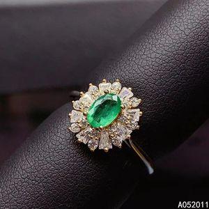 KJJEAxcmy joyería fina natural esmeralda 925 de plata esterlina de plata clásica nueva prueba de soporte de anillo de piedras preciosas ajustable