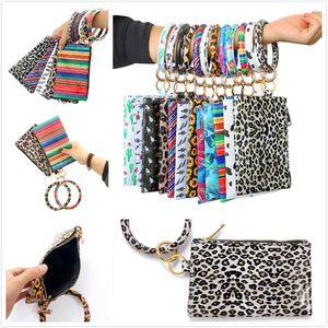 Portable PU Keychain Bracelet Wallet Leather Tassel Pendant Handbag Leopard Sunflower Print Bracelet Ladies Bag Gift