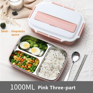 Food Container Lunch Box Stainless Steel Portable Picnic Office School Food Container with Compartments Thermal Bento Box 201015