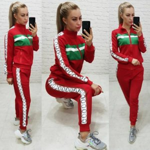 2020 Tracksuits for Womens Womens Letter Print Outdoor Sets Stitching Color Jackets + Pants 2020 Trendy Autumn Two-piece Suits Sportswears
