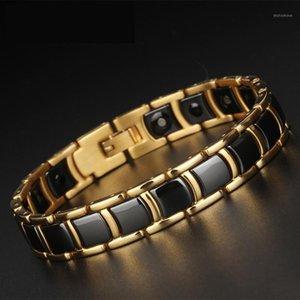 TrustyLan Golden Acero inoxidable Joyería Hecha A Mano Classic Link Pulsera Magnética Hombres Salud Amistad Hombres Cerámica Bracelets1