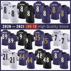 8 Lamar Jackson Football Jersey 89 Mark Andrews 9 Justin Tucker 15 Marquise Brown 44 Marlon Humphrey 7 Trace McSorley 48 Patrick Queen