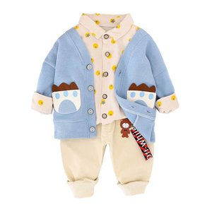 INS 1-4Y casual baby boys suits cotton cartoon boys outfits 3pcs set long sleeve cardigan+shirt+trousers boys clothing sets B3400