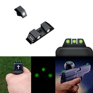 HQ 전술 권총 나이트 비전 광학 기계 녹색 발광 발광 전면 및 후면 시력에 대한 글로 CK는 G17 G19 G22 G23 시리즈 모델