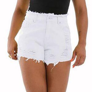 Womail Denim Shorts Women's White Fashion Women Women Short Jeans Vintage Pocket Hole High Cintura Shorts Mujeres Verano F791