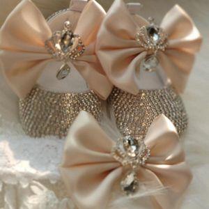 Dollbling Luxury Стразы Baby Girl Обувь First Walker оголовье Set Искорка Bling Кристаллы принцесса обувь Baby Shower подарки SH JwuR #