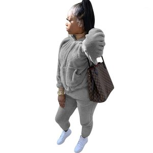 VS&LLWQ Fall Winter Clothes Women Soild Sweatsuit Fashion Long Sleeve Casual Pocket Sweatpants Tracksuit Female Two Piece Sets1