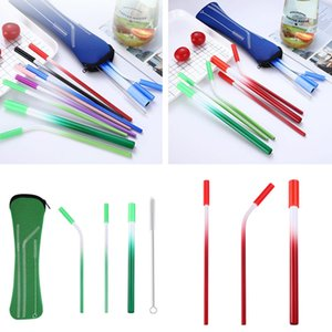 Gradient Color Stainless Steel Metal Drinking Straws Cleaner Reusable Party Metal Straw With Cleaner Brush Tea Bag Set 100set T1I2555