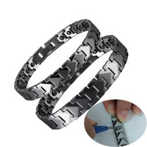 Anti-Scratch Tungsten Bilezik Erkekler Ok Manyetik Hematit Çift Tungsten Karbür Bilezikler Zincir Bağlantı Enerji Bilezik Erkek W1218