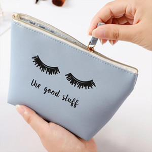 New Handbag kawaii Eyelashes Cosmetic Bag PU Makeup Pouch Beauty Case Vanity Make Up Bag For Women Travel Organizer Kit
