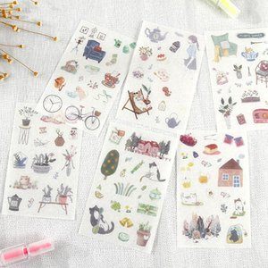 6 Styles Japan And South Korea Creative Love Cat Daily Stickers Diary Diary Hand Account Diy Decorative Stickers sqcBgE homecart
