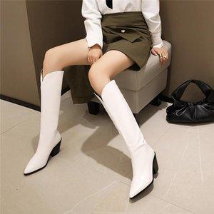 Stiefel ymechischer Herbst Wintermode sexy spitz spitze Block klobige High Heels weiß schwarz Cowboy Langer Knie weiblicher Schuh