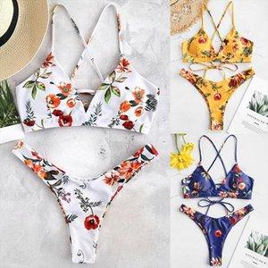 2020 Women Sexy Bikini Set Lace Up Floral Print Bandage Swimsuit High Waist Thong Brazilian Biquini swimwear Summer Beach Wear