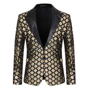Erkek Takım Elbise Blazers 2021 Tasarım Erkek Şık Trens Sequins Kraliyet Altın Siyah Desen Sahne Şarkıcılar Düğün Damat Smokin Kostüm AB Boyutu1