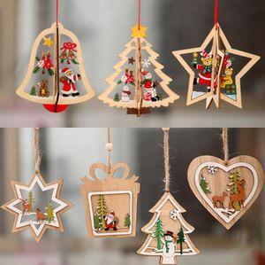 2D 3D рождественские украшения Деревянные Висячие Подвески Star Xmas Tree Белл Рождественские украшения Для дома партия Новый год SN1962