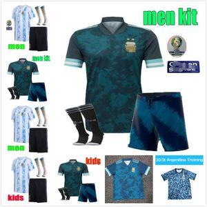 2020 2021 Argentina Messi Soccer Jersey Dybala di Maria Higuain Kun Aguero Lautaro Uomo + Kit Kit Kit Football Polo Shirt Shirts Pantaloni maschera maschera