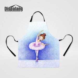 Dispalang Kitchen for Women Ballet Printed Cleaning Protector Apron Lady Work-wear Clothes Cooker Baking Adjustable Aprons