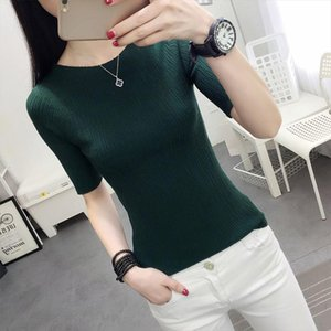 Half New Sleeve Cotton Crewneck Sweater Female Sleeve Head Sleeve Shirt Five Solid Tight Sweater Thin Repair