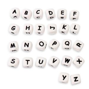 Tyry.Hu 100pcs 12mm Silicone Lettres Perles Baby Dentition Dentsers Alphabet lettre BPA Bébé gratuit Bébé bricolage Beads à mâcher Y200730