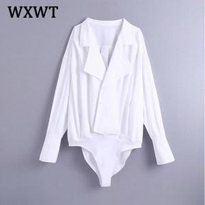 WXWT 2021 Nouvelles femmes Solide Simplicity Loose PlaySuits Lampe à manches longues Rompes occasionnelles Mesdames Sexy Chic Combinaisons BB3164