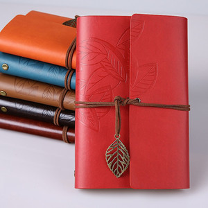 Rétro feuille de journal en cuir journal de la couverture PU COILS NOTEPAD livre livre soft Coorbook vierge Notebook Travellers Diary Notebook Art Sketchbook