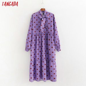 Tangada women dots print purple dress Spring bow neck Long Sleeve Ladies Loose midi Dress Vestidos 1D214 Y200805