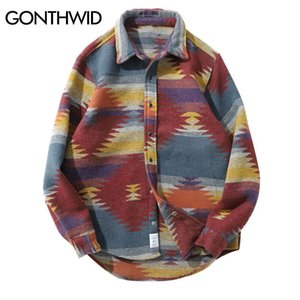 GONTHWID Hip Hop Tie Dye Snap Button Long Sleeve Shirts Men Fashion Casual Streetwear Dress Shirt Coats Male Hipster Shirts Tops