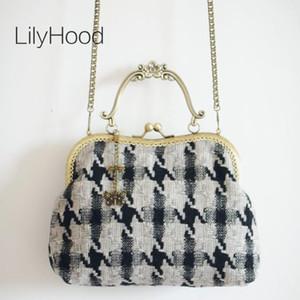 Lilyhood 2020 Lana Vintage Lady hombro fieltro pata de gallo bolsa mujeres retro Tejidos Tweed-Top mango de teléfono de células pequeñas del bolso