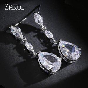 ZAKOL Elegant Cubic Zirconia Drops Simple Long Earrings for Bridal Jewelry Women's Wedding Anniversary Birthday Gift FSEP497