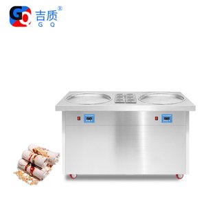 GQ-PF2R 6C Thailand Single Pan 6 Buckets Fried Ice Cream Roller  Instant Ice Cream Rolls Machine  Fry Ice Cream Cold Plate