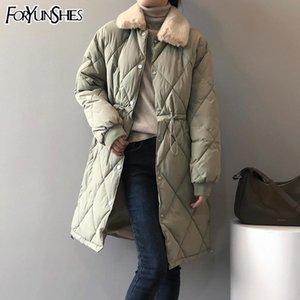 Foryunshes 여성 겨울 긴 파카 여성 가짜 모피 칼라 아가일 면화 패딩 헐렁한 자켓 코트 Drawstring 2021 New