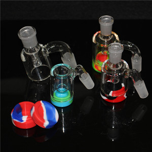 Mini Glass Ash Catcher with 5ml Silicone Container 14mm Glass Reclaim Catcher Adapter for Glass Bong Water Pipe Oil Rig Ashcatchers