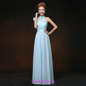 Custom Made Light Blue Wedding Party Dresses Lace Up Chiffon Halter Long Bridesmaid Dress 1PL008 Sweet Memory