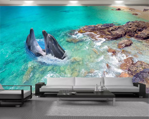 Custom 3d Animal Wallpaper 3d Wall Painting Wallpaper Couple Dolphins Beautiful Seascape HD Digital Printing 3d Wallpaper