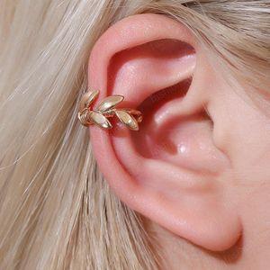 European Trend Leaves Ear Bone Clip Retro Leaf Beads Copper Ear Cuff Women Gold Silver Popular Earrings Jewelry Accessories