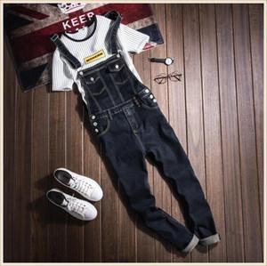Men's Jeans Korean Style Hip Hop Plus Size 4XL Black Denim Slim Jumpsuit Male Suspender Bib Long Pants Fashion Casual Overalls 060806