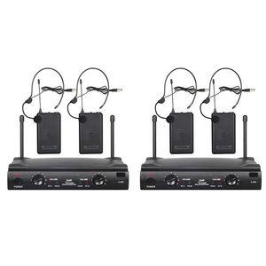o UHF Wireless Microphone System Professional 2 Channel Microphone System 2 Mics 1 Wireless Receiver