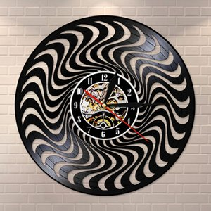 Duvar Saati Timepiece Sessiz Hareketi İzle Clock Asma 3D Twisted Çember Siyah Ve Beyaz Vintage Vinil Kayıt Wall Art