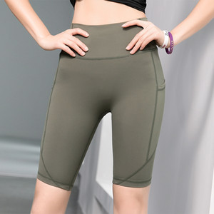 Women sportswear yoga pants sport shorts home exercise gym clothing outfit tights with pocket S M L
