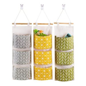 3PCS Cotton Linen Storage Hanging Bag Cloth for Wardrobe Door Behind Debris Organizer 3 Pockets Home Decor Wall Hanger Holders
