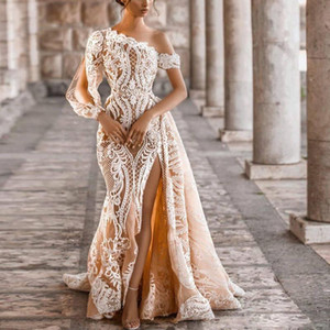 Graceful Champagne One Shoulder Thigh Slits Mermaid Evening Dresses Long Sleeve Lace Appliques Overskirt Pearls Beach Bridal Gowns