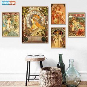 Özel Alphonse Mucha Poster Kanvas Poster 30X45cm, 40x60cm Sanat Ev Dekorasyon Kumaş Kumaş Duvar yazdır İpek Kumaş TADQ #