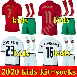 2020 National Team Kid Kit Kit Soccer Jerseys Ronaldo Joao Felix Casa Away YouT Camicia da calcio 20 21 Portoghese Bambino Set Camisa de Futebol