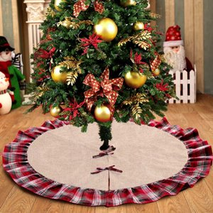 Christmas Tree Skirts Bowknot Patchwork Home Pad Red Lattices Linen Ornament Festival Supplies Decoration 48 inch